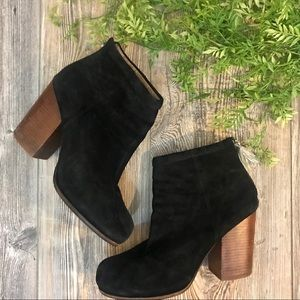jeffrey campbell // black suede ankle booties 10